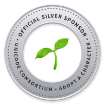 Unicode Consortium official silver sponsor badge for the seedling emoji